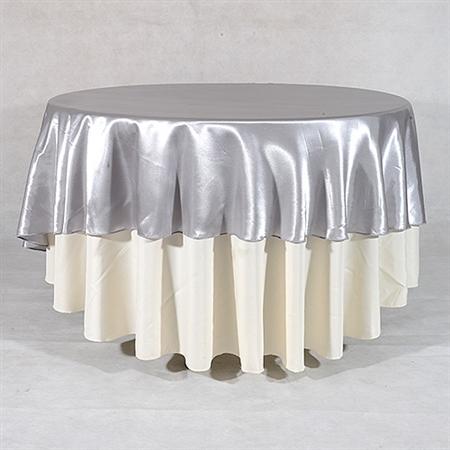 Silver 108 Inch Round Overlays
