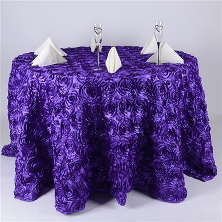 Purple 120 Inch Round Rosette Satin Tablecloths