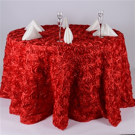 Red 120 Inch Round Rosette Satin Tablecloths