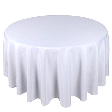 White 132 Inch Round Tablecloths
