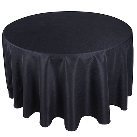 Black 132 Inch Round Tablecloths