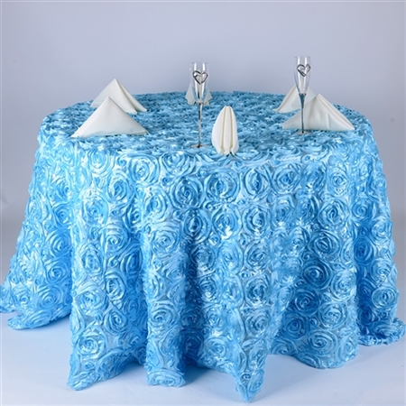 Light Blue 132 Inch Round Rosette Satin Tablecloths