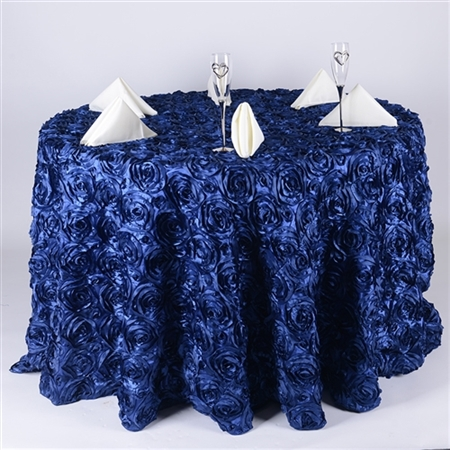 Navy Blue 132 Inch Round Rosette Satin Tablecloths