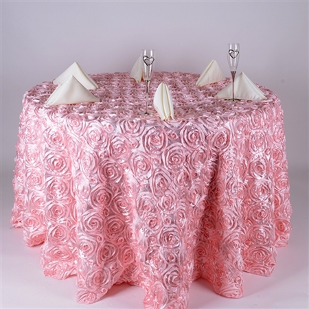 Pink 132 Inch Round Rosette Satin Tablecloths
