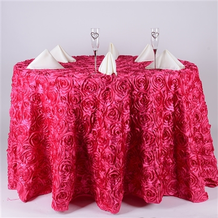 Fuchsia 132 Inch Round Rosette Satin Tablecloths