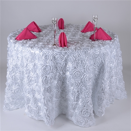 White 132 Inch Round Rosette Satin Tablecloths