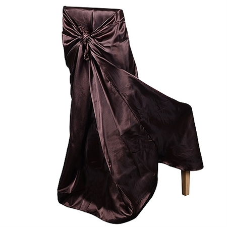 Universal Satin Chair Cover Chocolate Brown