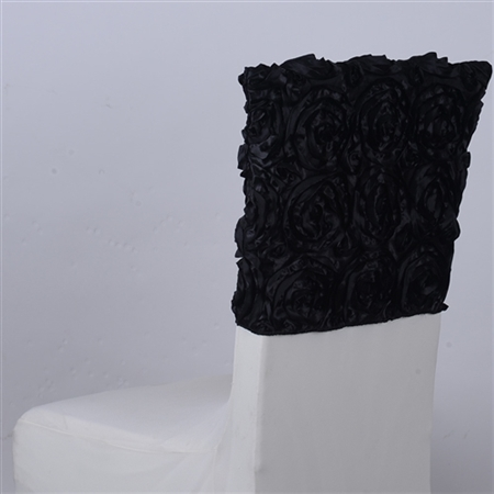 Black 16 Inch x 14 Inch Rosette Satin Chair Top Covers