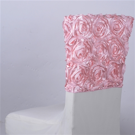 Pink 16 Inch x 14 Inch Rosette Satin Chair Top Covers