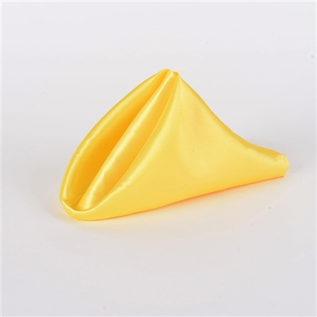 Yellow Satin Napkins 20 Inch x 20 Inch Pack of 5