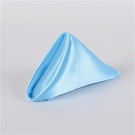 Light Blue Satin Napkins 20 Inch x 20 Inch Pack of 5