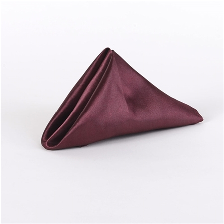 Burgundy Satin Napkins 20 Inch x 20 Inch Pack of 5