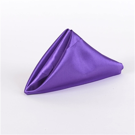 Purple Satin Napkins 20 Inch x 20 Inch Pack of 5