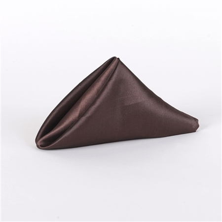 Chocolate Brown Satin Napkins 20 Inch x 20 Inch Pack of 5