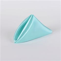 Aqua Blue Satin Napkins 20 Inch x 20 Inch Pack of 5