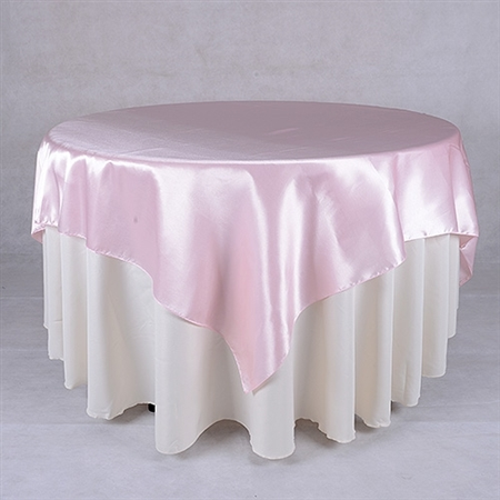 Pink 90 Inch x 90 Inch Square Satin Overlays