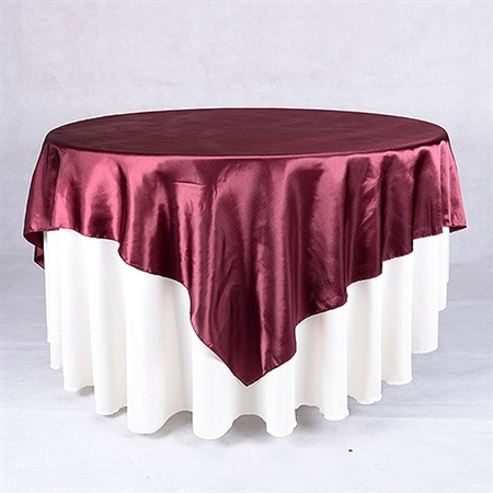 Burgundy 90 Inch x 90 Inch Square Satin Overlays