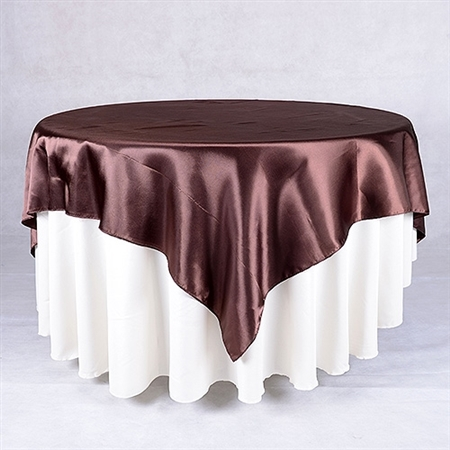 Chocolate Brown 90 Inch x 90 Inch Square Satin Overlays