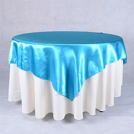 Turquoise 90 Inch x 90 Inch Square Satin Overlays