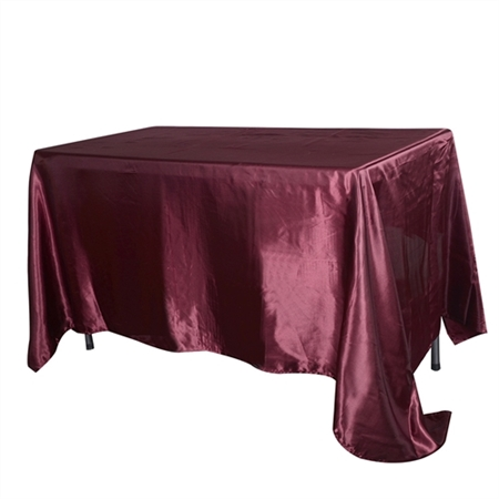 Burgundy 60 Inch x 102 Inch Rectangular Satin Tablecloths