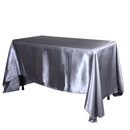 Silver 60 Inch x 102 Inch Rectangular Satin Tablecloths