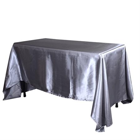 Silver 60 Inch x 102 Inch Rectangular Satin Tablecloths