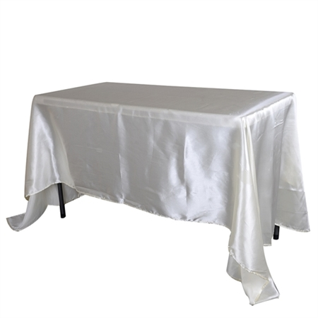 Ivory 60 Inch x 102 Inch Rectangular Satin Tablecloths