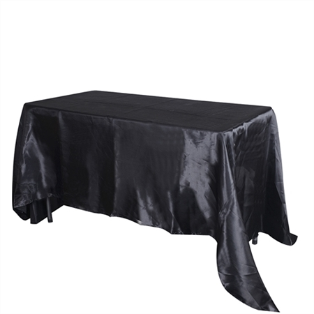 Black 60 Inch x 102 Inch Rectangular Satin Tablecloths