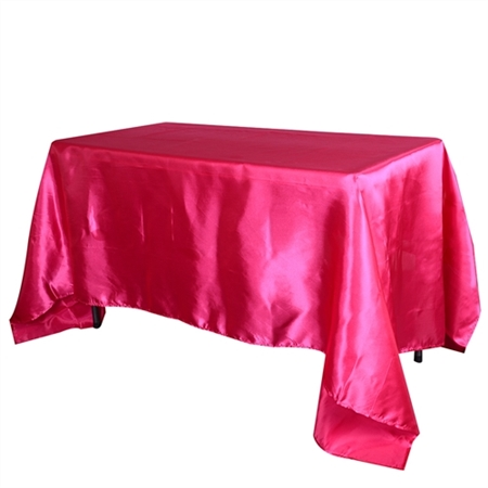 Fuchsia 60 Inch x 126 Inch Rectangular Satin Tablecloths