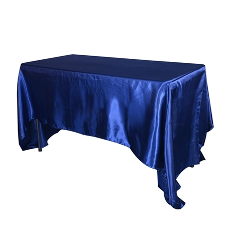 Navy Blue 90 Inch x 132 Inch Rectangular Satin Tablecloths