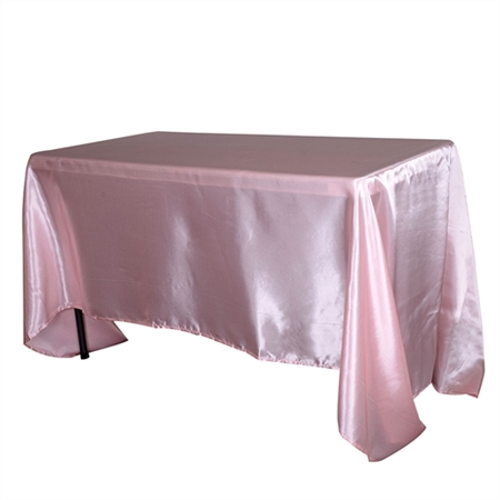 Light Pink 90x156Inch Rectangular Satin Tablecloth