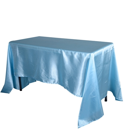 Light Blue 90x156Inch Rectangular Satin Tablecloth