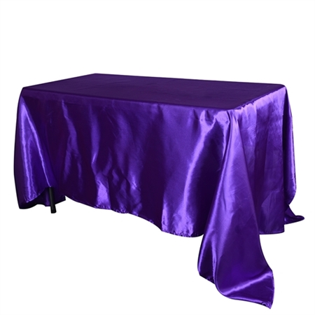 Purple 90 Inch x 156 Inch Rectangular Satin Tablecloths