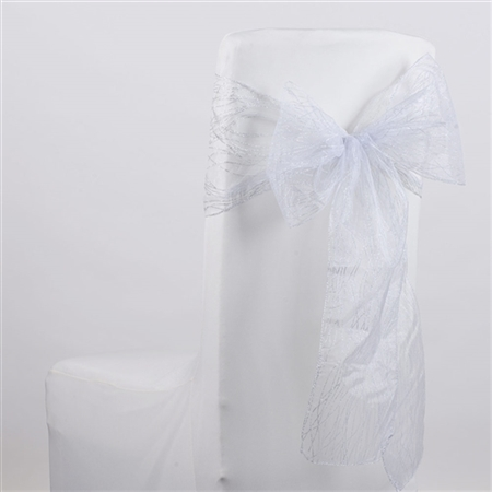 White Glitter Organza Chair Sash