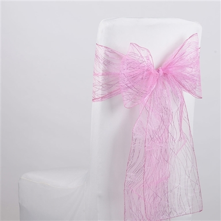 Light Pink Glitter Organza Chair Sash