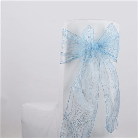 Light Blue Glitter Organza Chair Sash