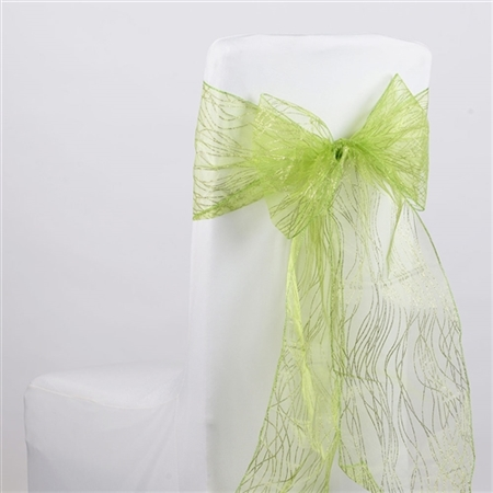 Apple Green Glitter Organza Chair Sash