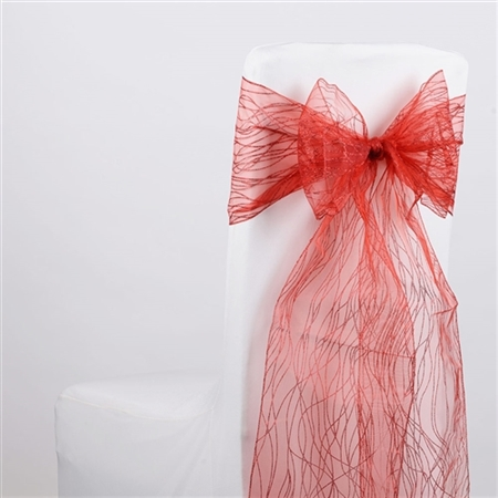 Red Glitter Organza Chair Sash