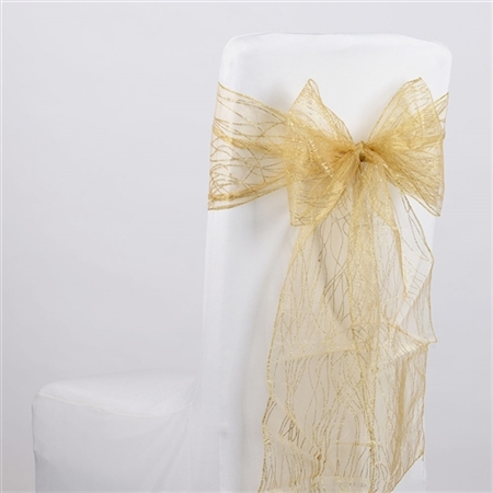 Gold Glitter Organza Chair Sash