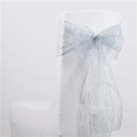 Silver Glitter Organza Chair Sash