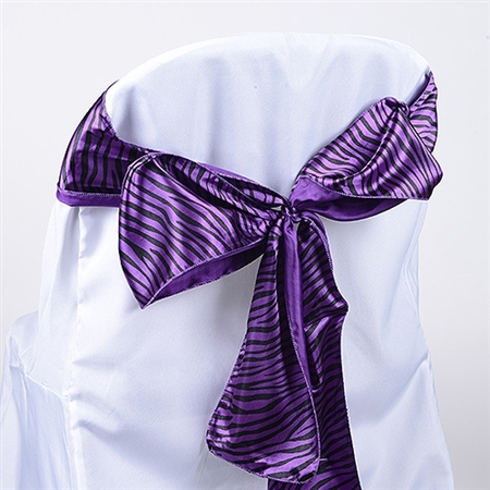 Purple Animal Satin Chair Sash