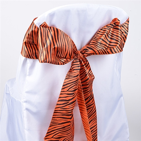 Orange Animal Satin Chair Sash