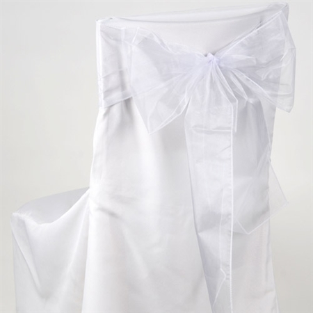 White Organza Chair Sash 10 Pieces