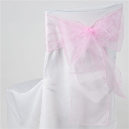 Pink Organza Chair Sash 10 Pieces