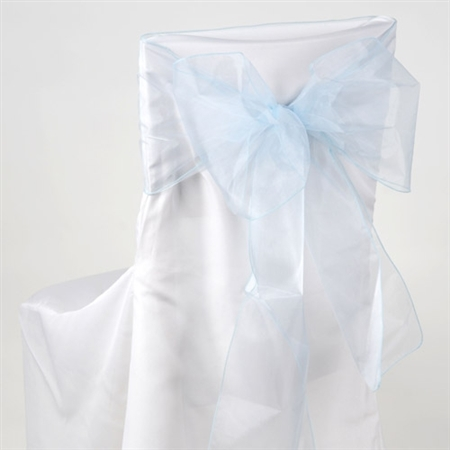 Light Blue Organza Chair Sash 10 Pieces