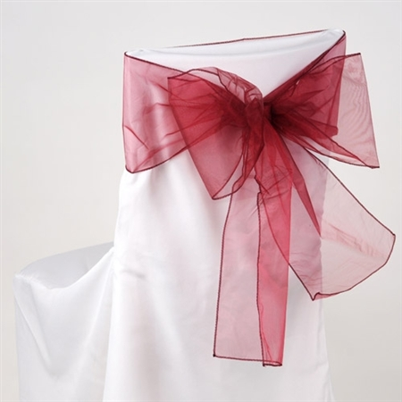 Wine Organza Chair Sash 10 Pieces