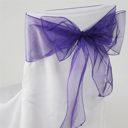 Purple Organza Chair Sash 10 Pieces