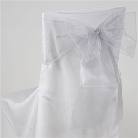 Silver Organza Chair Sash 10 Pieces