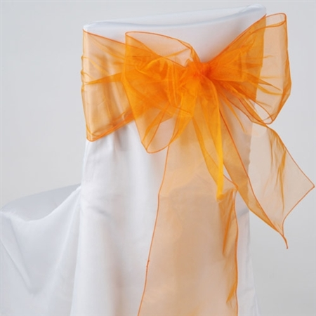 Orange Organza Chair Sash 10 Pieces
