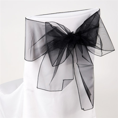 Black Organza Chair Sash 10 Pieces